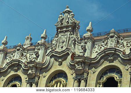 Close Up Of The Facade And Statues Of The Grand Theater Of Havana (Gran Teatro de La Habana) Cuba