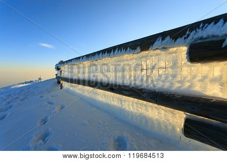 MONTE GRAPPA,ITALY - NOVEMBER 01, 2015: Winter panorama from Italian Alps. Monte grappa first world war memorial.
