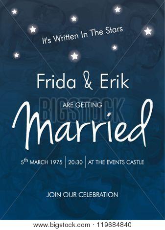 WEDDING INVITATION TEMPLATE DESIGN. It's written in the stars. Editable vector illustration file.