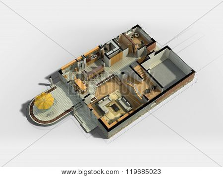 3D rendering of a furnished house