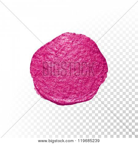 Vector pink watercolor brush blob stroke. Abstract varnish splash circle shape. Oil paint blot smear on transparent background