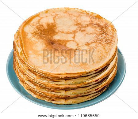 Pancakes on a blue plate isolated background