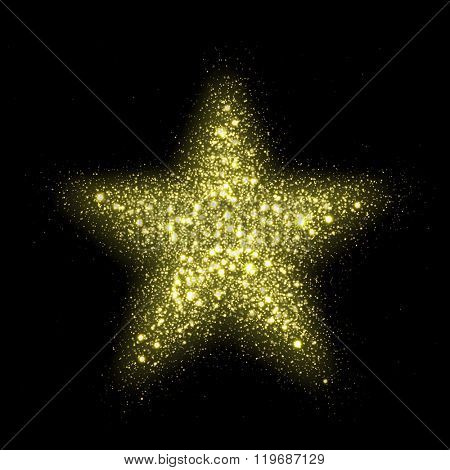 Vector glitter star of lens flare spark particles on black background. Glittering shining particles explosion