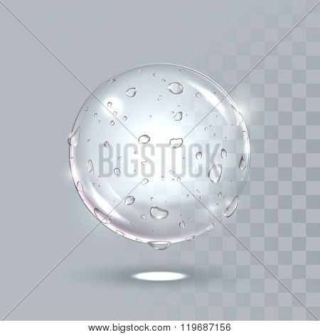 Pure clear water drops on sphere surface. Vector illustration of realistic droplets spray on transparent background. Fresh beverage splash concept.