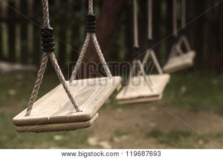 Empty Children Swings In The Park