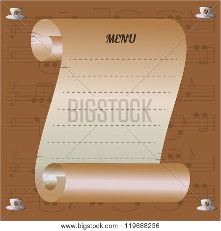 musical cafe menu with coffee grain and notes