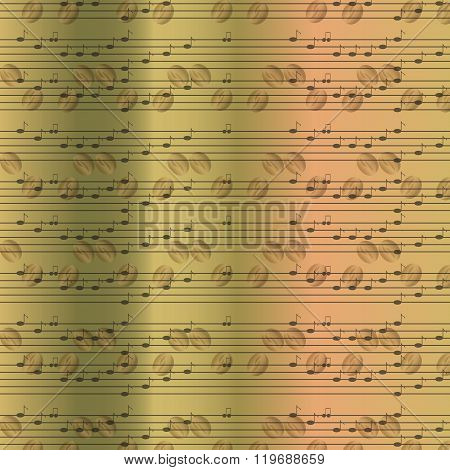 Faded old random musical notes background