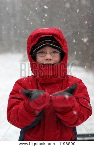 Boy In Falling Snow