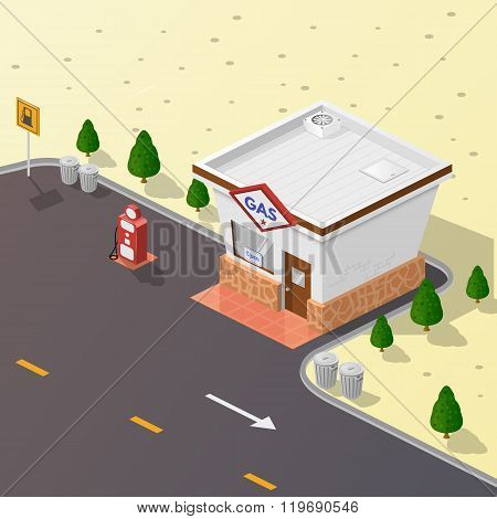 Illustration gas station.