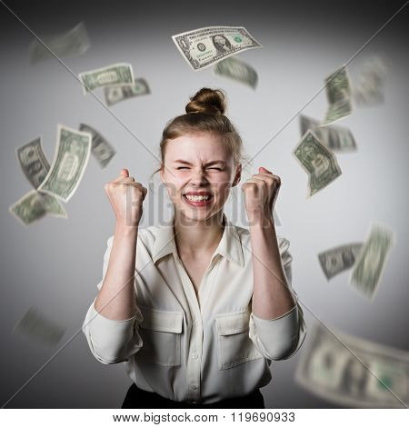 Rejoicing. Girl In White And Dollars.