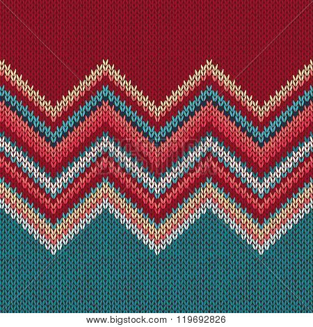 Seamless knitting pattern with wave ornament