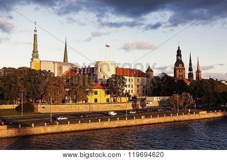 Riga skyline accross River Daugava. Riga Latvia.