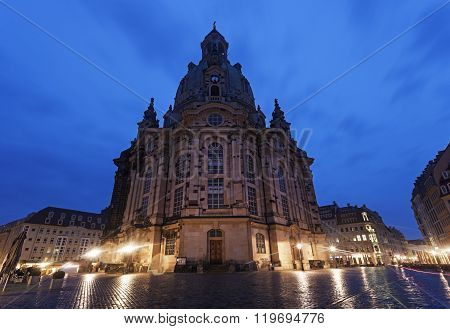 Church of Our Lady on Neumarkt in Dresden. Dresden Saxony Germany. ** Note: Visible grain at 100%, best at smaller sizes