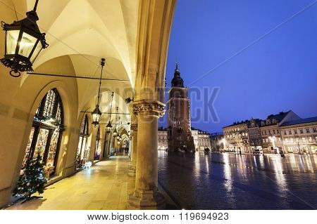 Krakow Rathaus Tower seen from arches of Cloth Hall. Krakow Poland