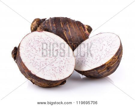 Taro Roots On White Background
