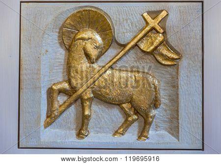 Relief Golden Lamb At Church