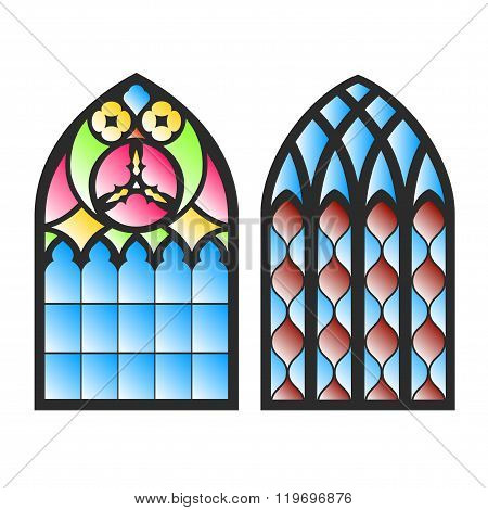 On the image is presented Gothic windows. Vintage frames. Church stained-glass windows