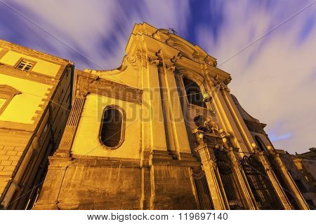 Church in Naples at sunrise. Naples Campania Italy