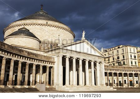 Piazza Plebiscito in Naples with San Francesco di Paola Church. Naples Campania Italy