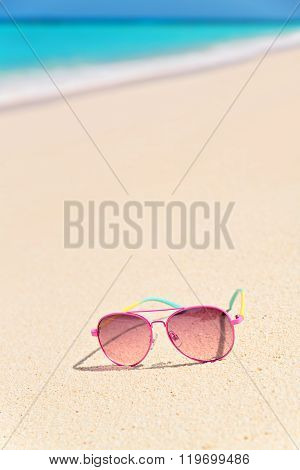 Pink Sunglasses On The Beach