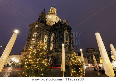 Church of Our Lady on Neumarkt in Dresden. Dresden Saxony Germany.