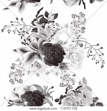 Vector Seamless Background With Roses In Monochromic Color