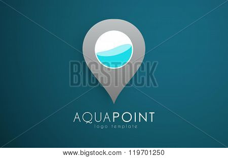 Water drop logo. Wellness logo. Spa logo. Dots logo. Aqua point logo. Water logo design.