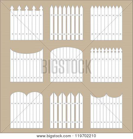Vector set of white rural fences silhouettes. Garden Park Yard elements.