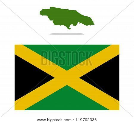 Jamaica map illustrated and colored on white background