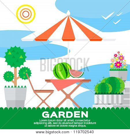 Garden rural elements - tree flowerbed flowers umbrella chair table watermelon in vector flat style. Garden landscape - summer picnic. Ecology clean air.