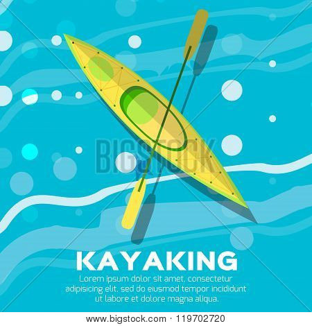 Kayak and paddle. Vector illustration of Outdoor activities elements - kayak and rowing oar. Kayak isolated sea kayak