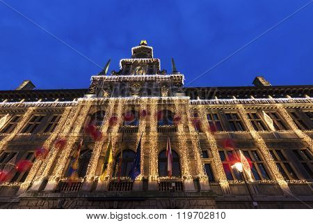 Antwerp City Hall at dusk. Antwerp Flemish Region Belgium.