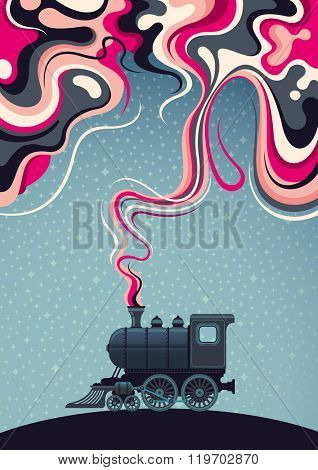 Conceptual abstraction with old locomotive. Vector illustration.