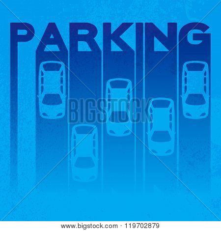 Blue design style of signature - parking- on textured background.