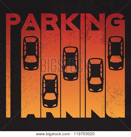 Colorful design style of signature - parking- on textured background.