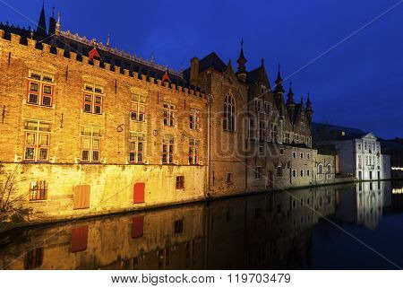 Houses And Canals In Bruges