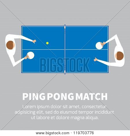 Ping pong match. Table tennis player.