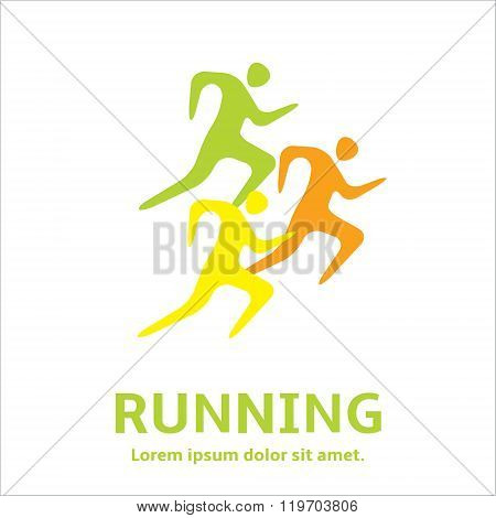 Running man people - silhouette icon. Let's Run. Simple symbol of run. Marathon sprint. Vector Illustration.