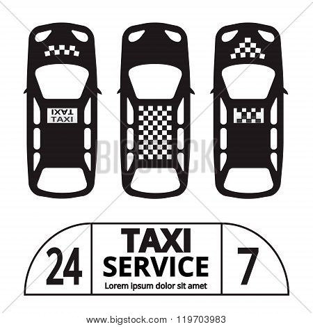 Top view Taxi cab symbol and sign. Public transport. Vector illustration