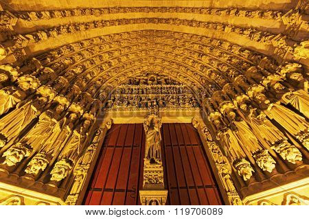 Entrance to Cathedral of Our Lady of Amiens. Amiens Nord-Pas-de-Calais-Picardy France.
