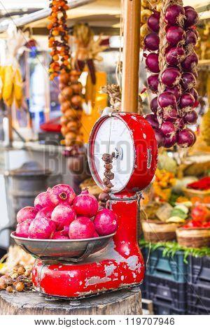 Fruit market with old scales in Campo di Fiori, Rome