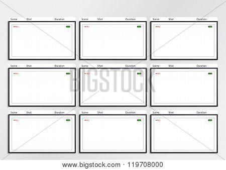 Camera Viewfinder Storyboard Template 9 Frame