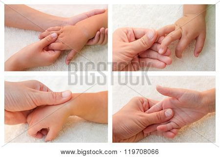 Collage masseur doing massage fingers of hand little baby.
