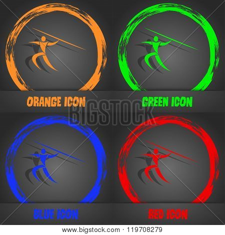 Summer Sports, Javelin Throw Icon. Fashionable Modern Style. In The Orange, Green, Blue, Red