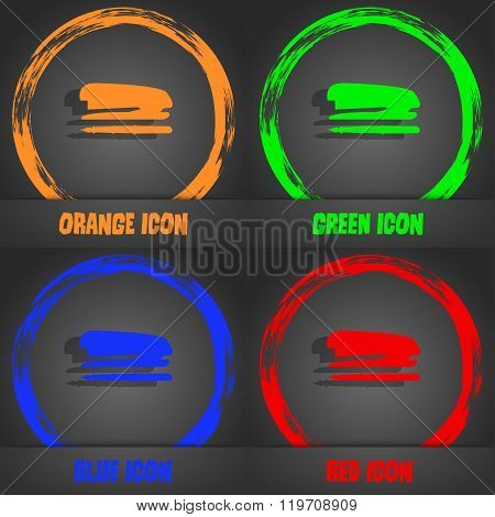 Stapler And Pen Icon. Fashionable Modern Style. In The Orange, Green, Blue,