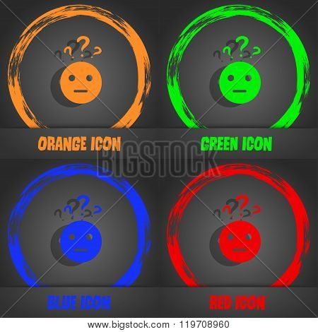 Question Mark And Man, Incomprehension Icon. Fashionable Modern Style. In The Orange, Green, Blue,