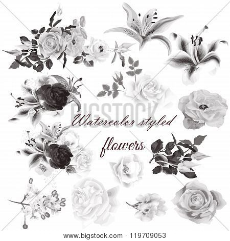 Vector Set Of Realistic Flowers For Design
