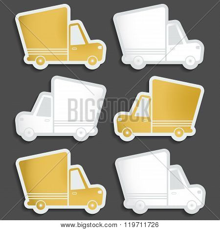 Van delivery set of blank stickers. Free delivery fast delivery free shipping white an gold logo icons set with blend shadows on white background. Vector.
