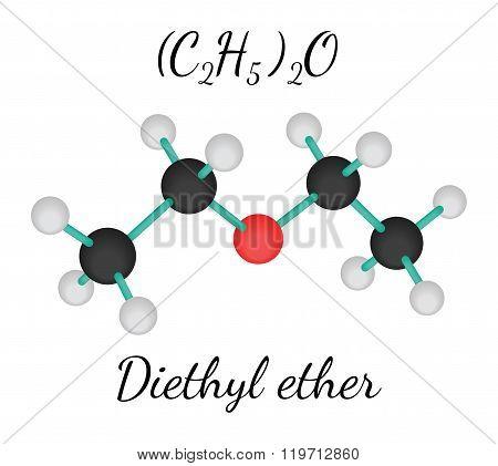 C4H10O diethyl ether molecule