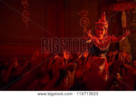UBUD, BALI / INDONESIA - FEB 27, 2016: Unidentified dancers performing traditional balinese Kecak Trance Fire Dance. Kecak also known as Ramayana Monkey Chant, depicts a battle from the Ramayana.